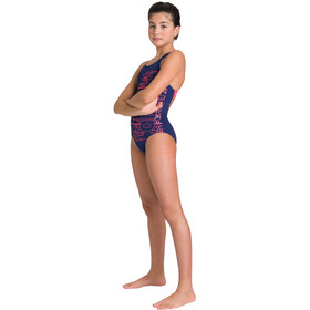 arena Little Stars V Back One Piece Swimsuit Girls navy/fluo red